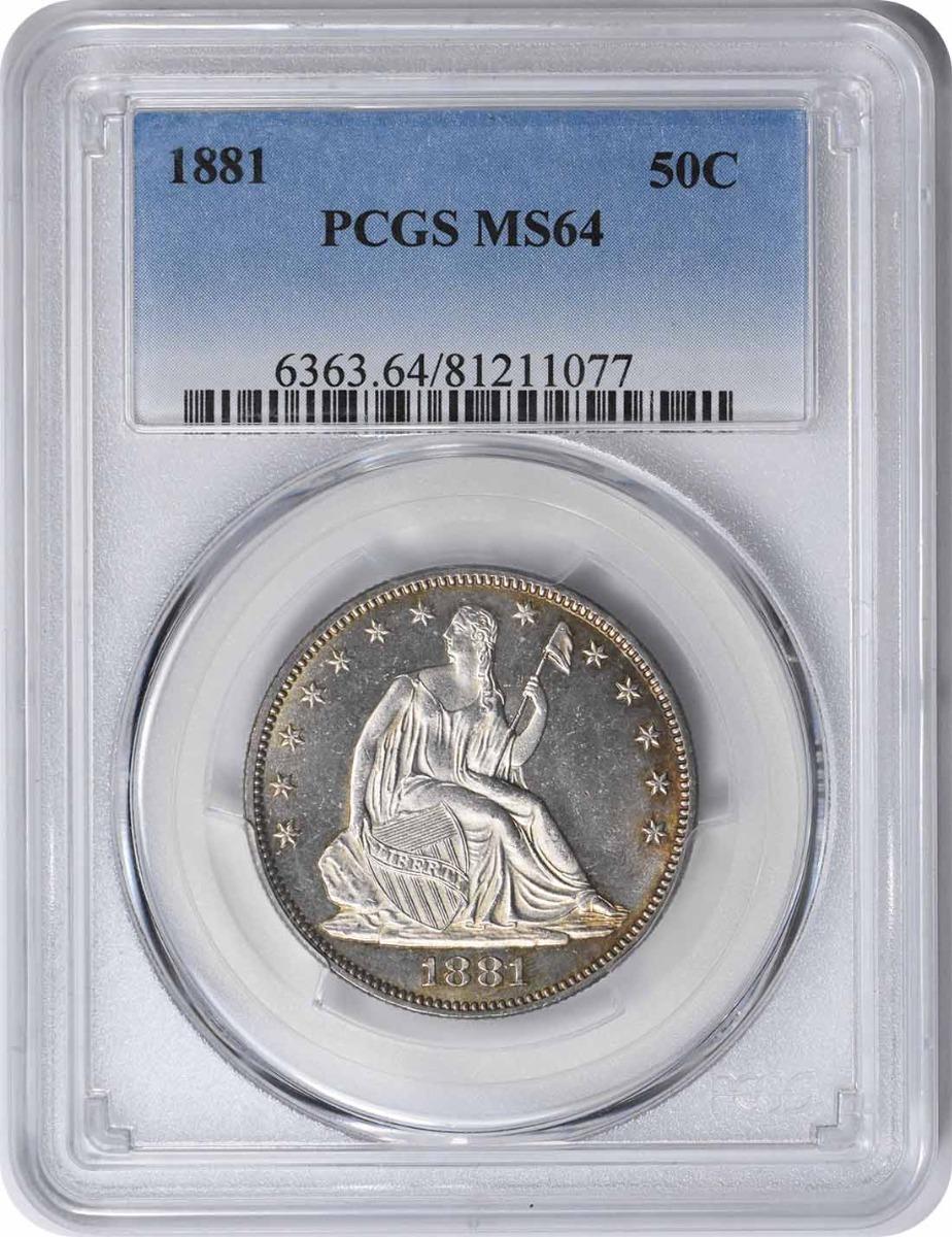 1881 Liberty Seated Silver Half Dollar MS64 PCGS