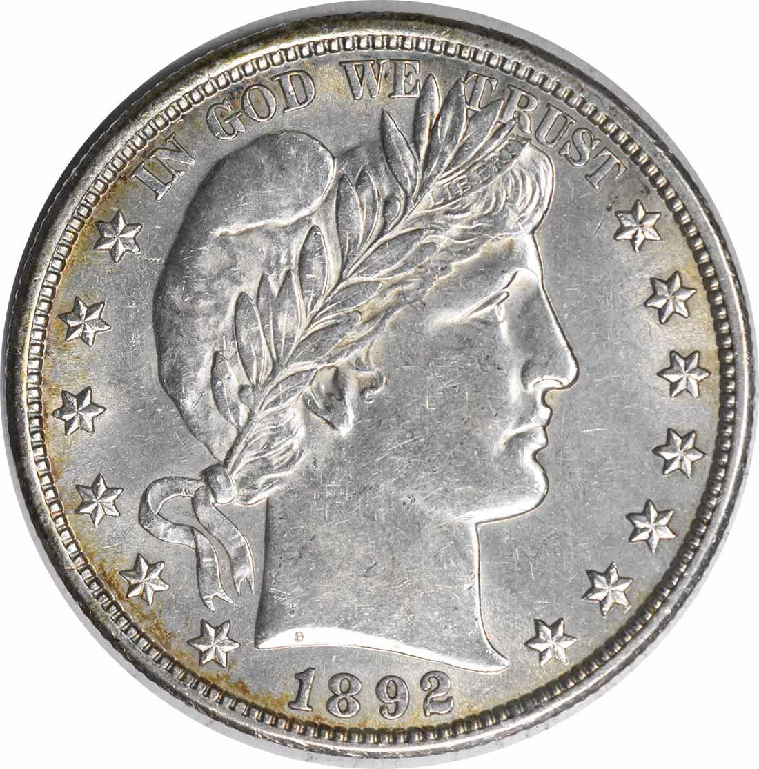 1892 Barber Silver Half Dollar AU58 Uncertified #1214