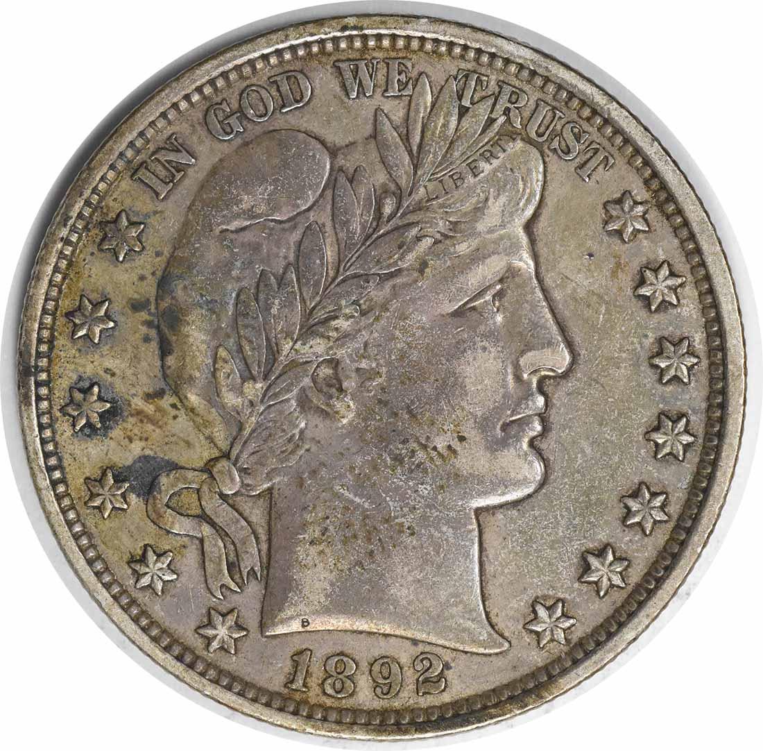 1892 Barber Silver Half Dollar Choice EF Uncertified #256