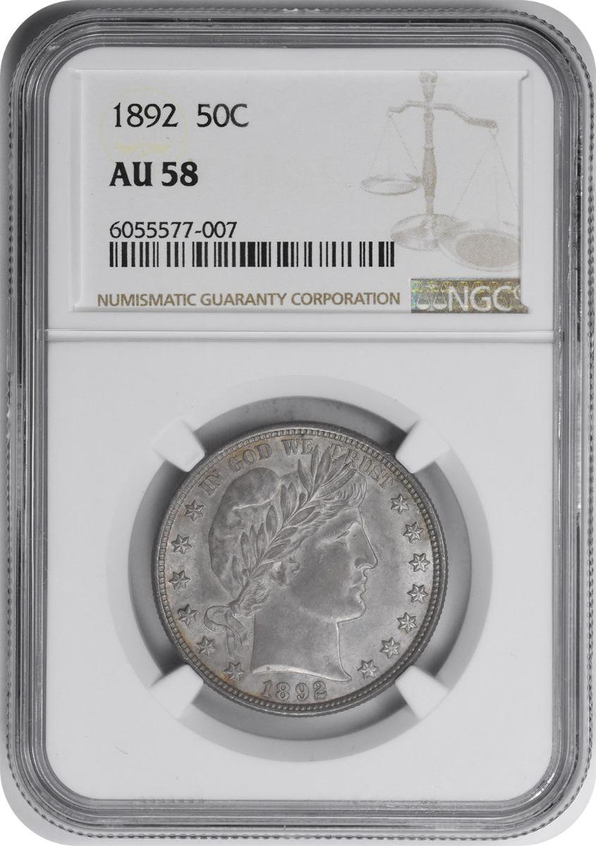 1892 Barber Silver Half Dollar AU58 NGC