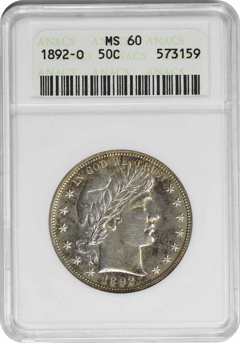 1892-O Barber Silver Half Dollar MS60 ANACS