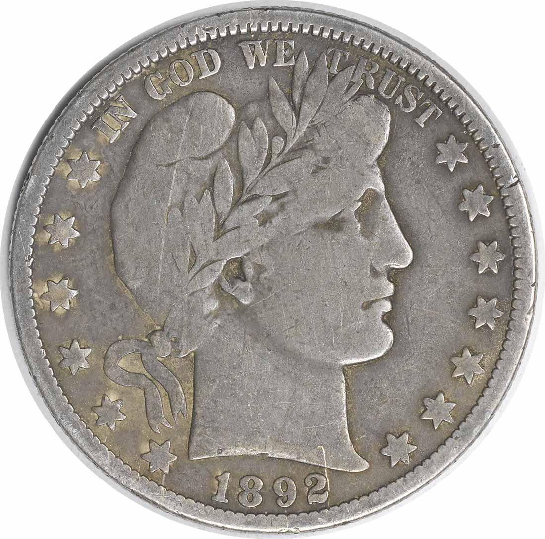1892-O Barber Silver Half Dollar Choice VG Uncertified #1120