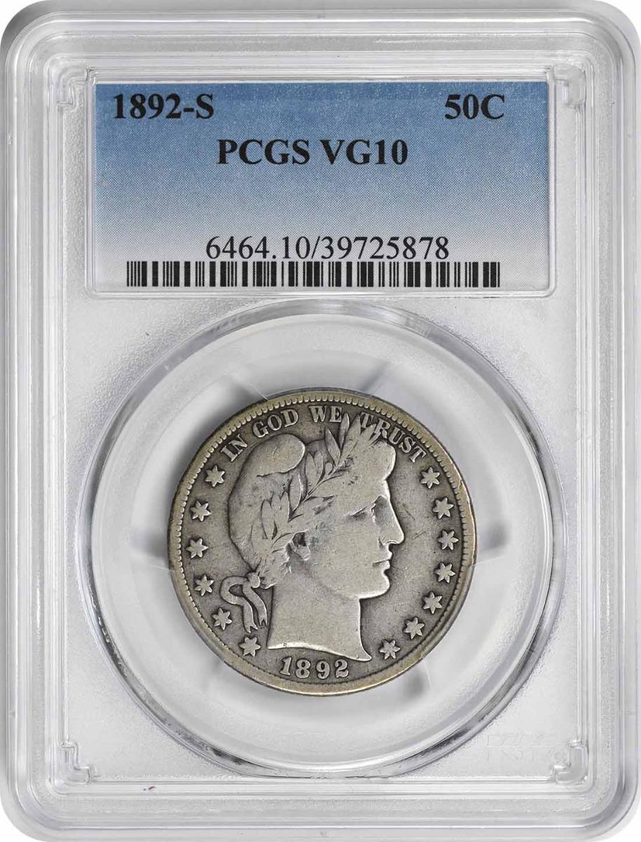1892-S Barber Silver Half Dollar VG10 PCGS