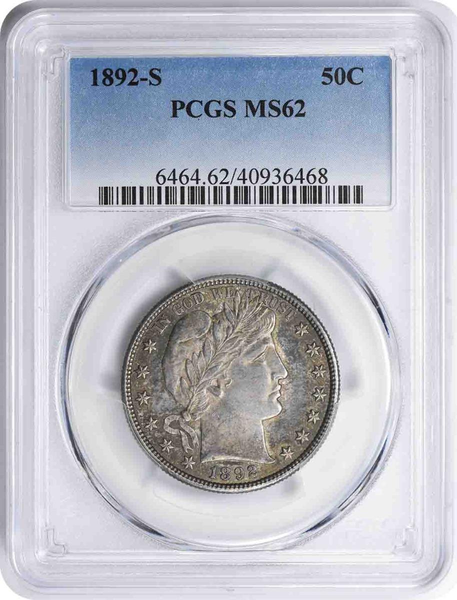 1892-S Barber Silver Half Dollar MS62 PCGS