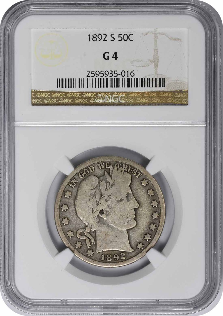 1892-S Barber Half Dollar, G4, NGC