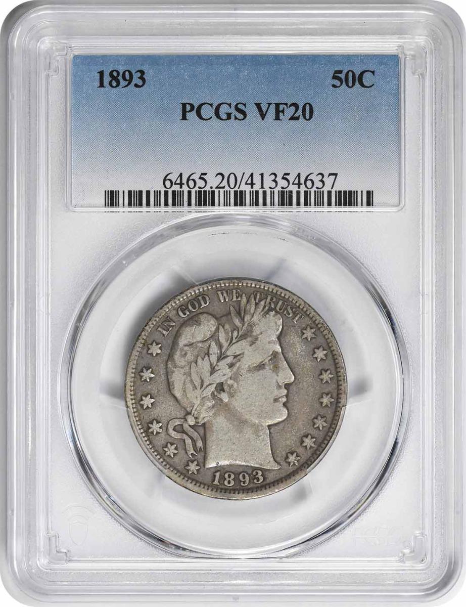 1893 Barber Silver Half Dollar VF20 PCGS