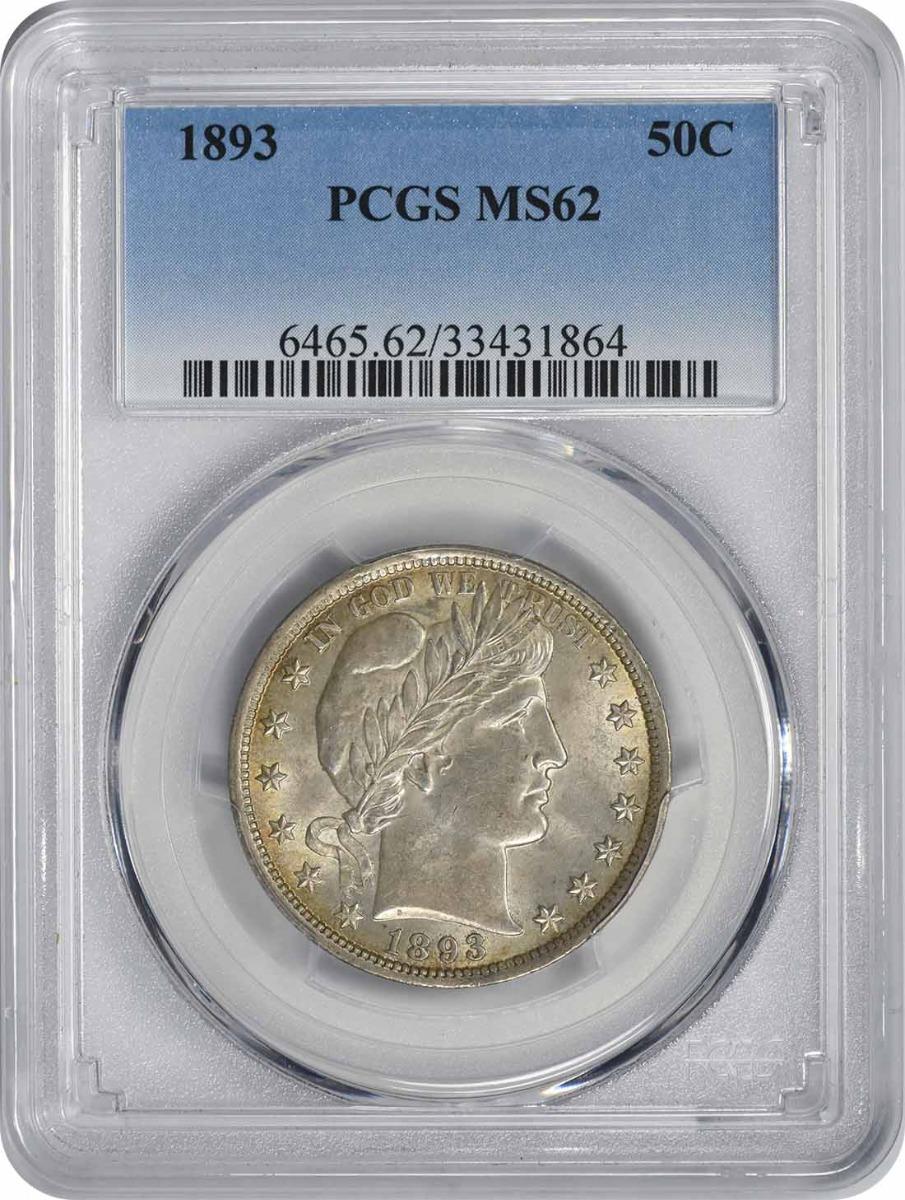 1893 Barber Silver Half Dollar MS62 PCGS