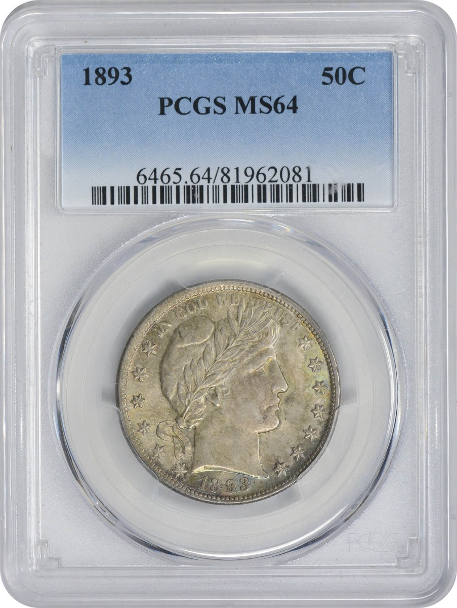 1893 Barber Silver Half Dollar MS64 PCGS