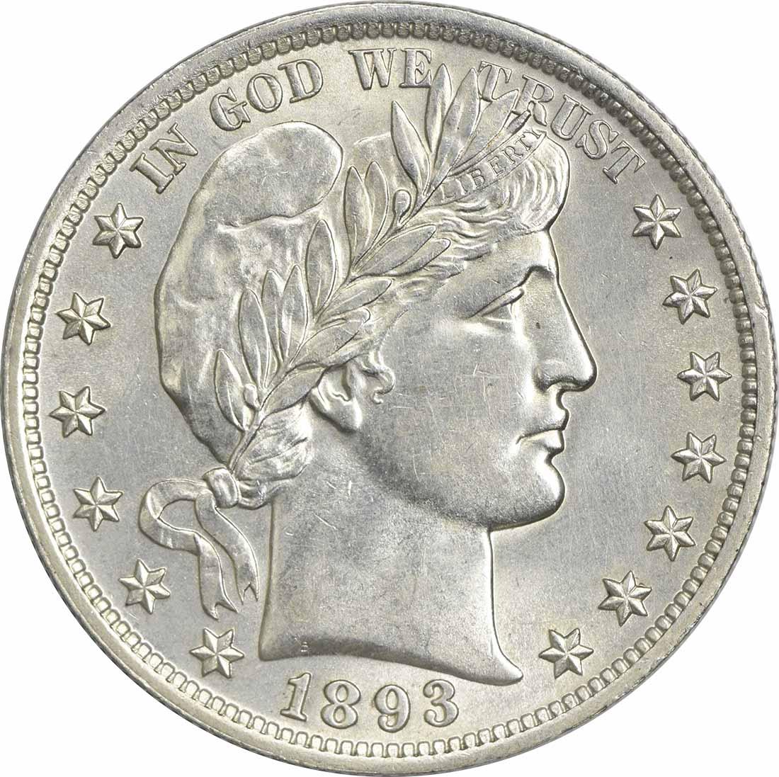 1893 Barber Silver Half Dollar MS63 Uncertified