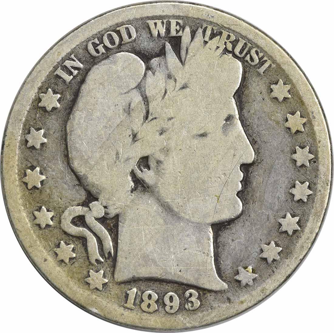 1893 Barber Silver Half Dollar G/AG Uncertified