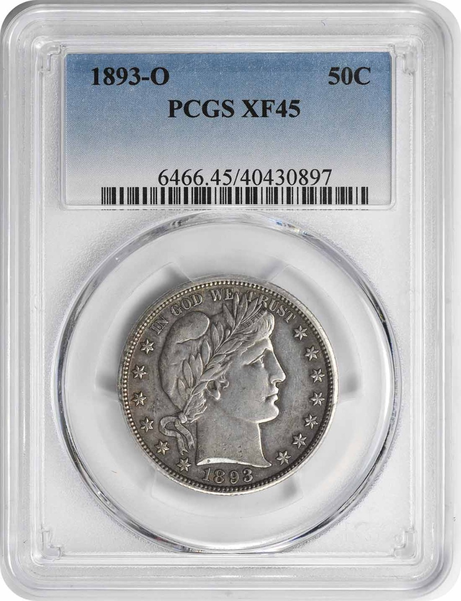 1893-O Barber Half Dollar EF45 PCGS