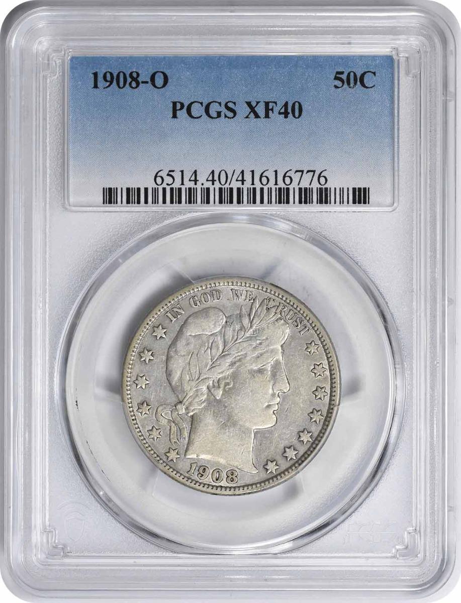 1908-O Barber Silver Half Dollar EF40 PCGS