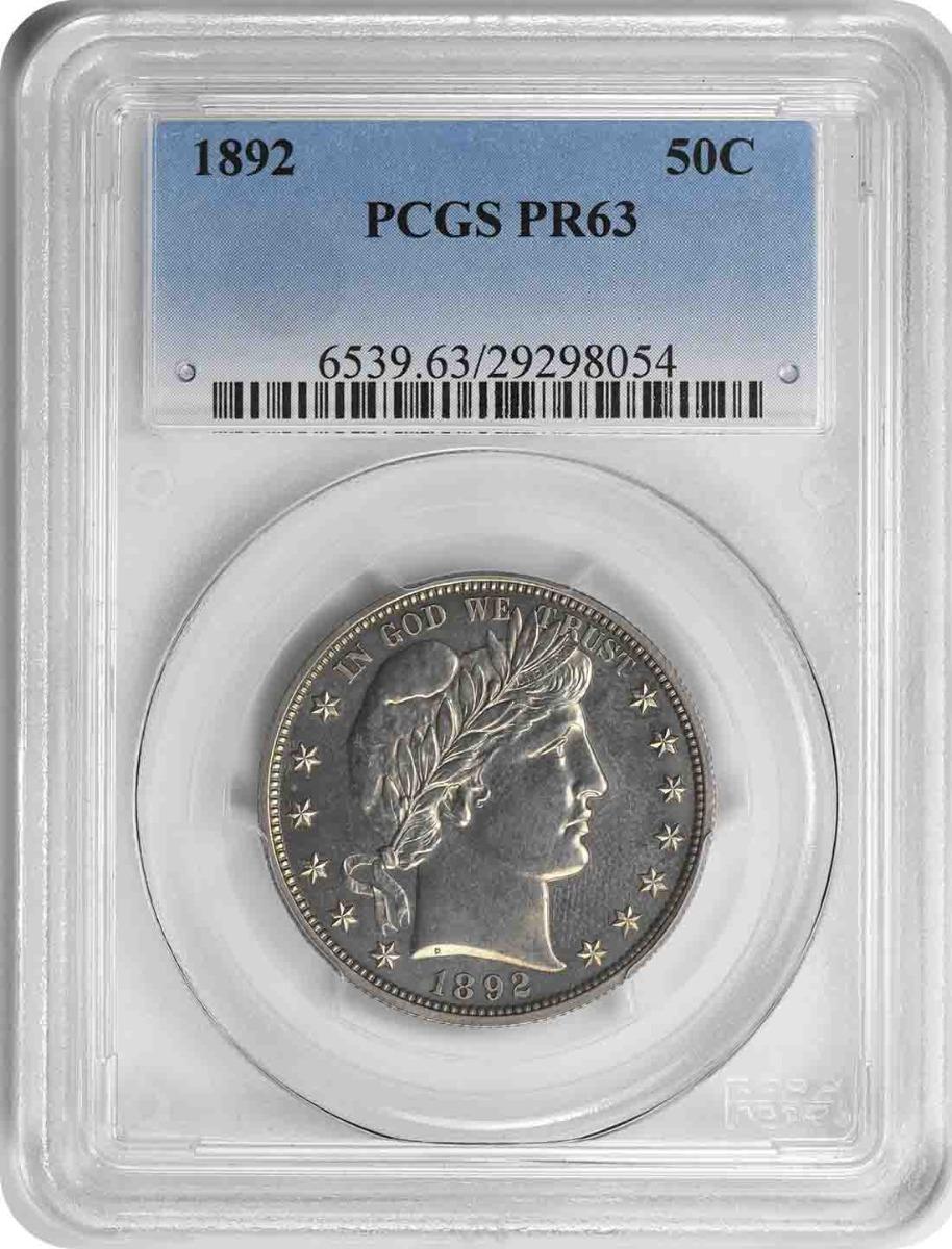 1892 Barber Silver Half Dollar PR63 PCGS