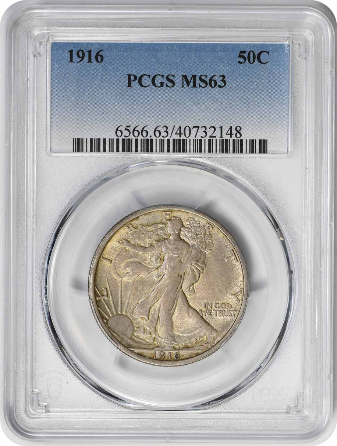 1916 Walking Liberty Silver Half Dollar MS63 PCGS