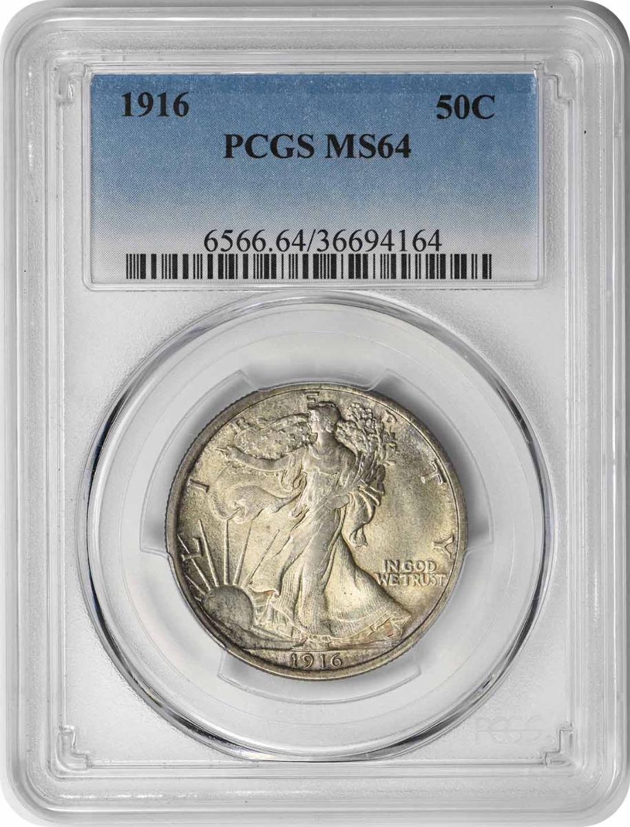 1916 Walking Liberty Silver Half Dollar MS64 PCGS
