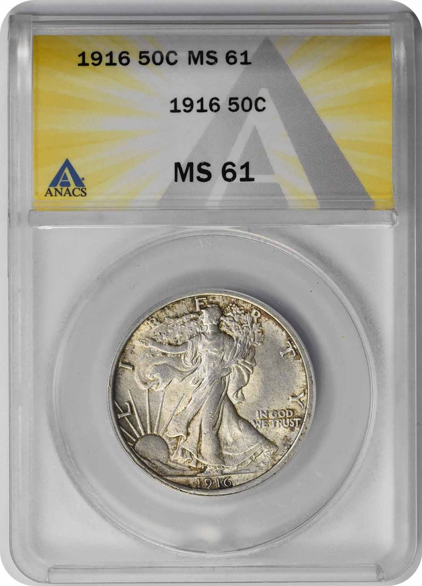 1916 Walking Liberty Silver Half Dollar MS61 ANACS