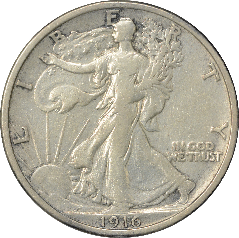 1916 Walking Liberty Silver Half Dollar VF Uncertified
