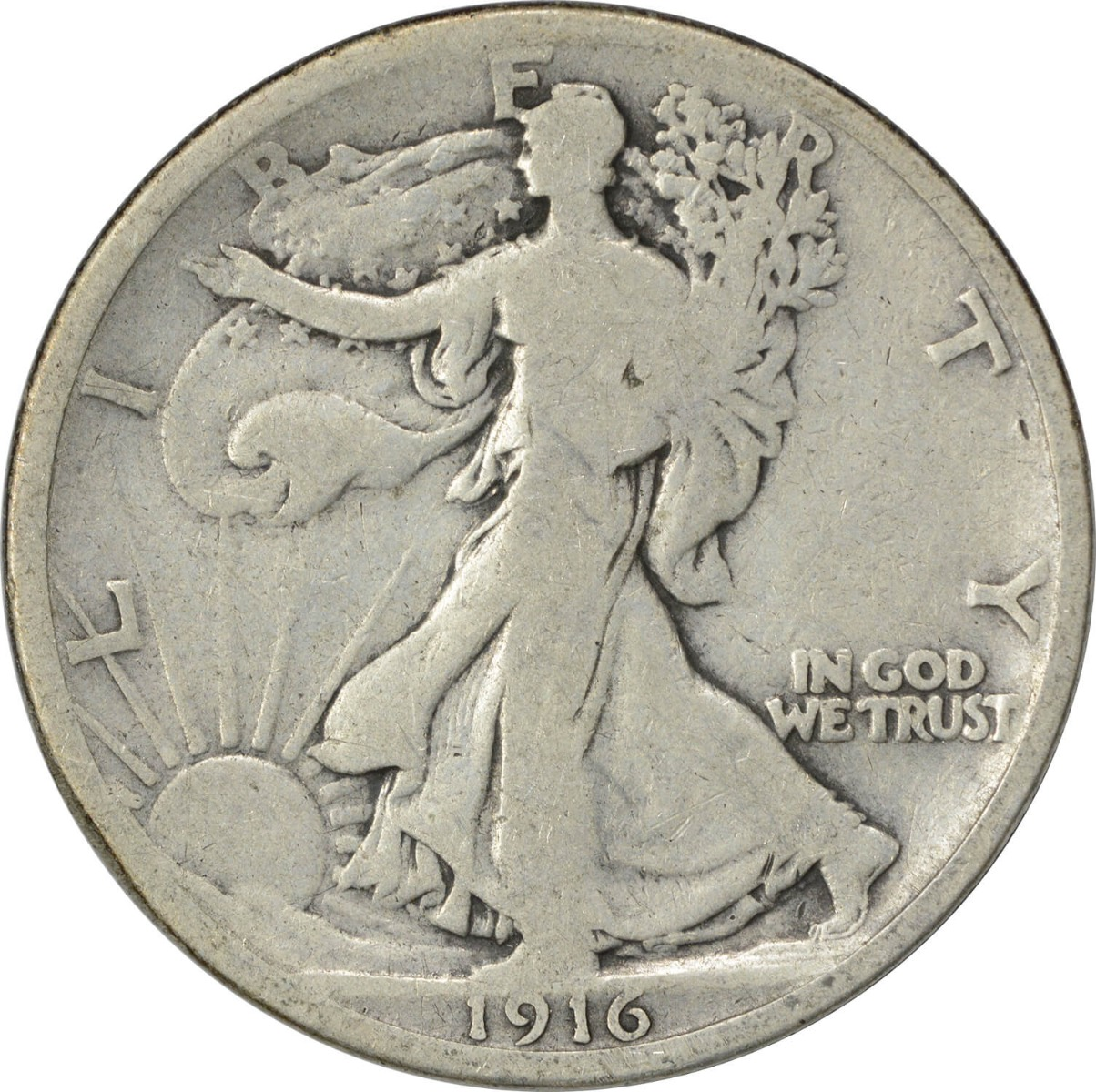 1916 Walking Liberty Silver Half Dollar VG Uncertified