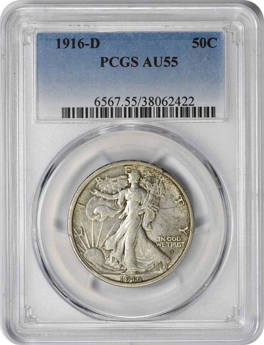 1916-D Walking Liberty Half Dollar, AU55, PCGS