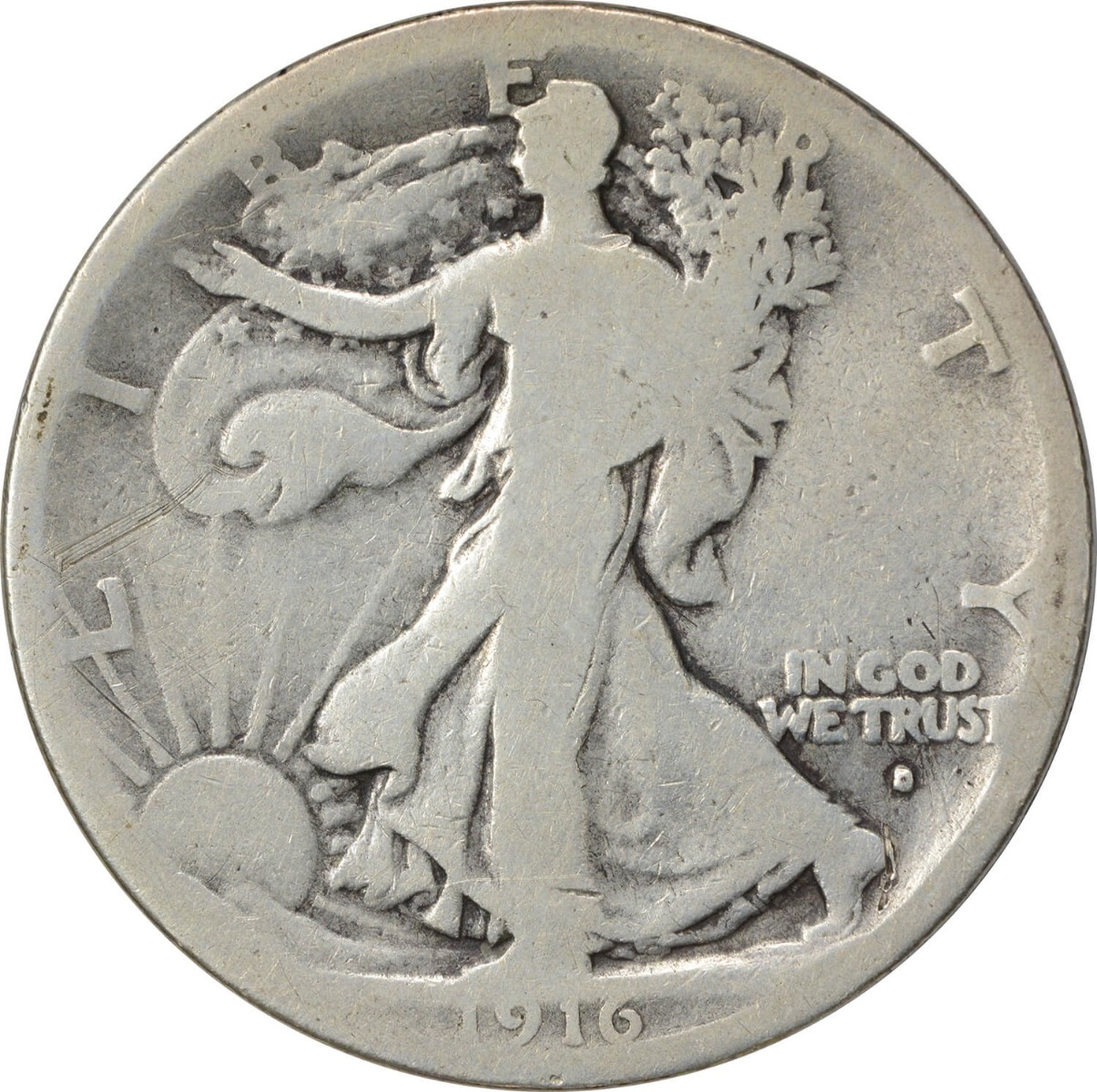 1916-D Walking Liberty Silver Half Dollar G Uncertified