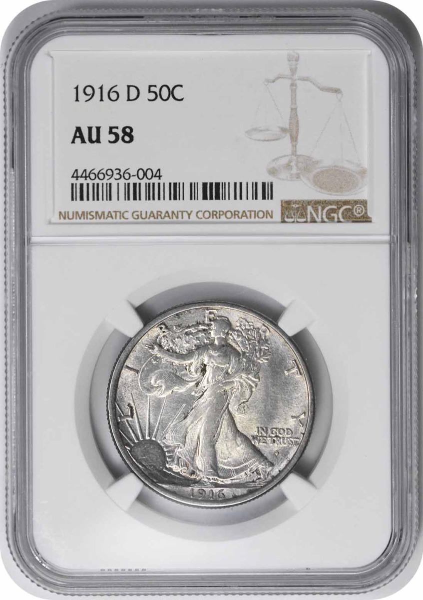 1916-D Walking Liberty Silver Half Dollar AU58 NGC