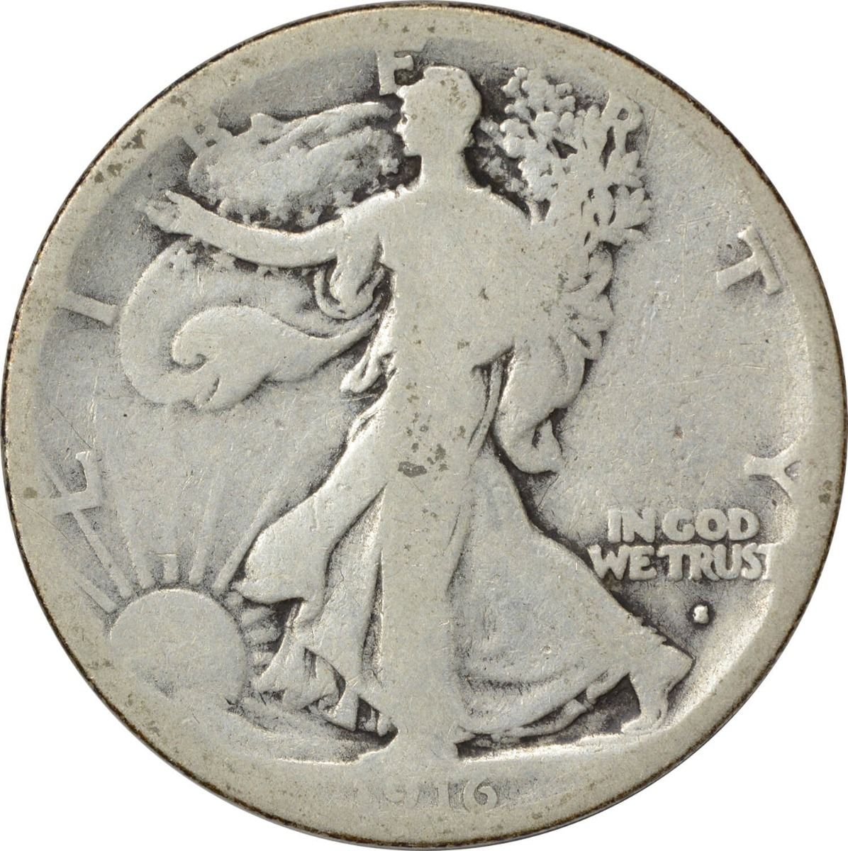 1916-S Walking Liberty Silver Half Dollar AG Uncertified