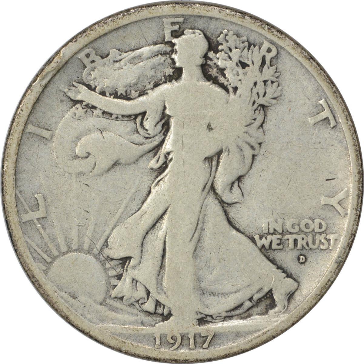 1917-D Walking Liberty Half Dollar Obverse VG Uncertified
