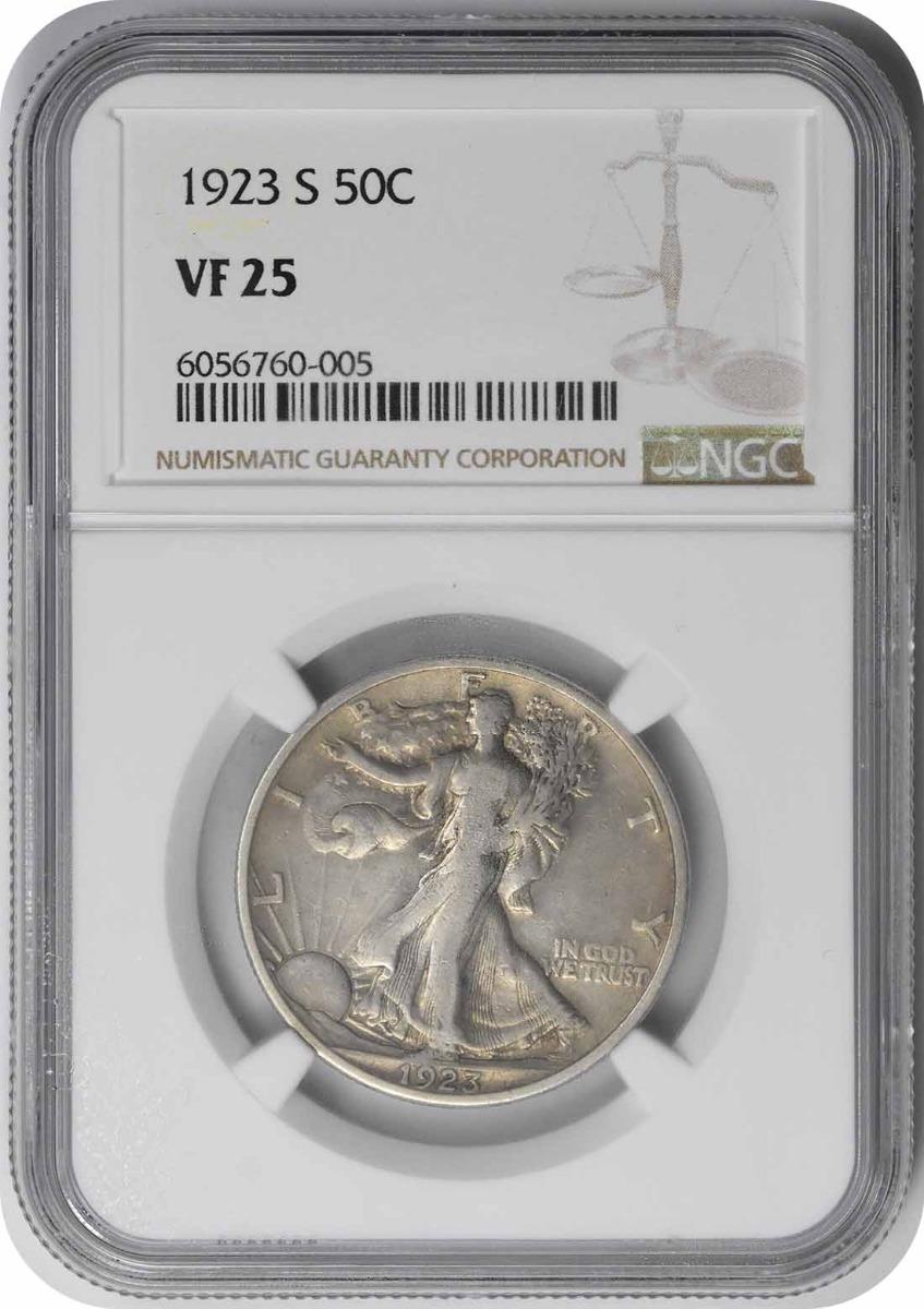 1923-S Walking Liberty Silver Half Dollar VF25 NGC