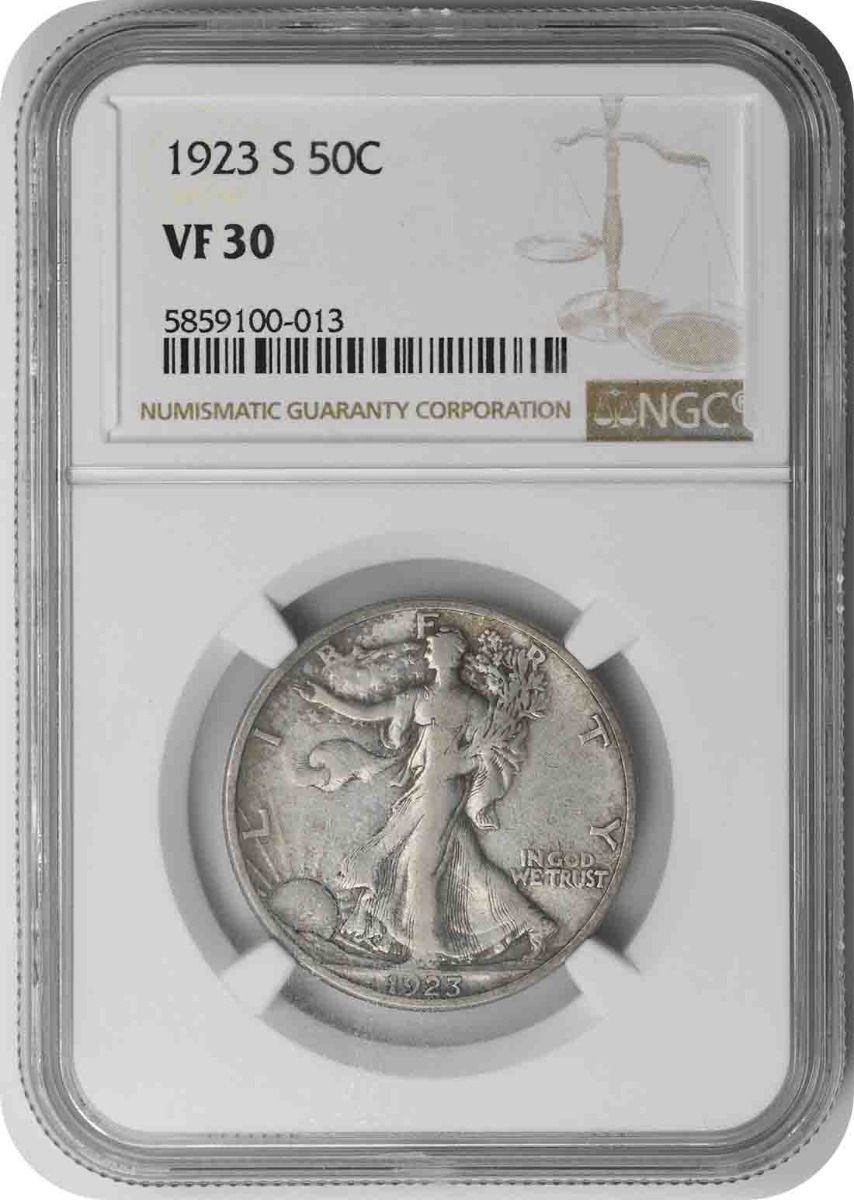 1923-S Walking Liberty Silver Quarter VF30 NGC