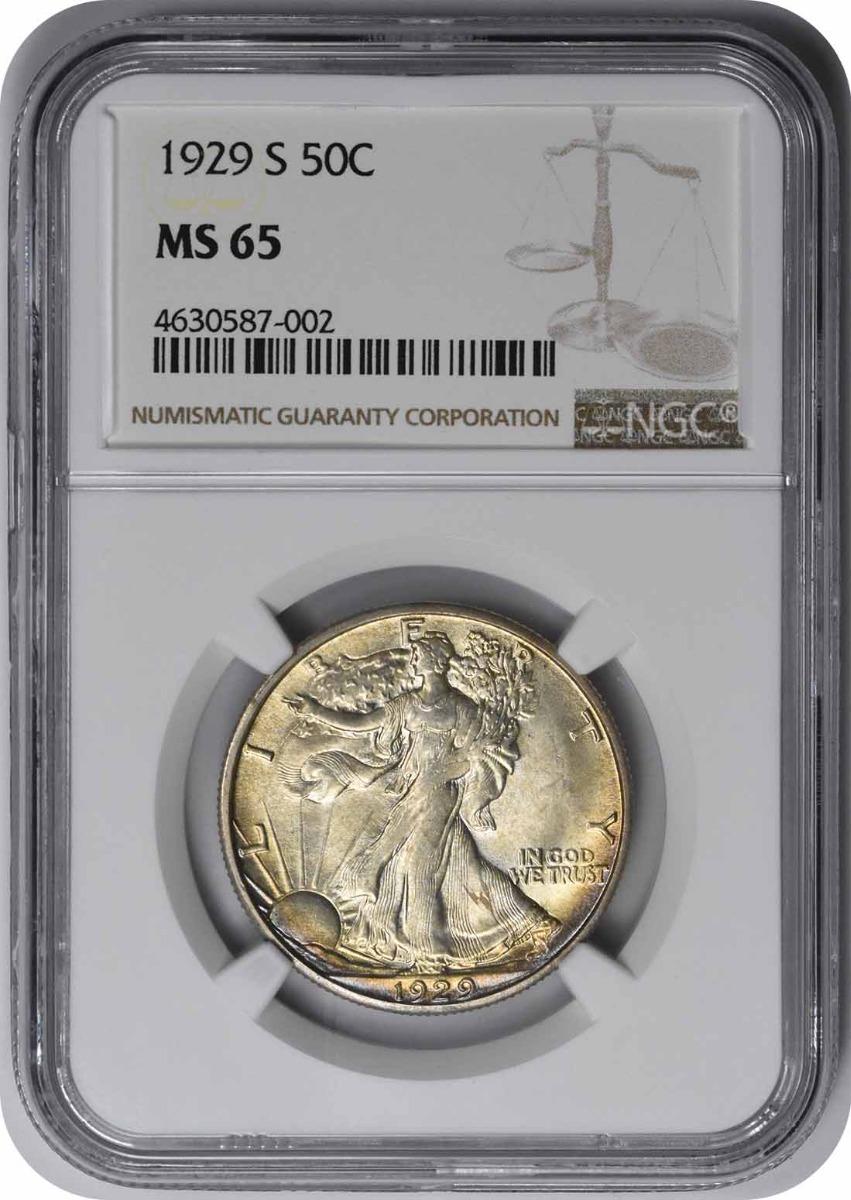 1929-S Walking Liberty Silver Half Dollar MS65 NGC