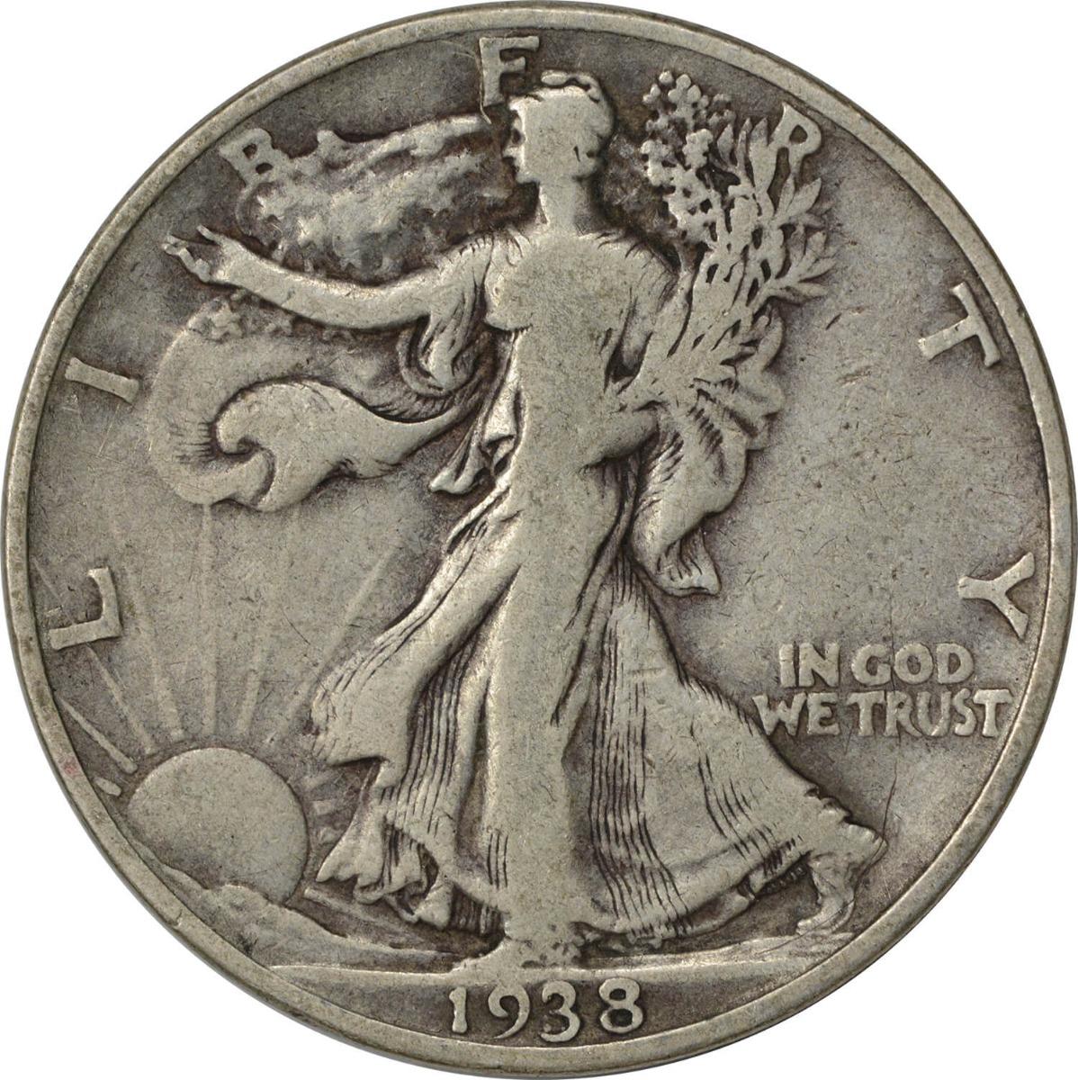1938-D Walking Liberty Silver Half Dollar F Uncertified