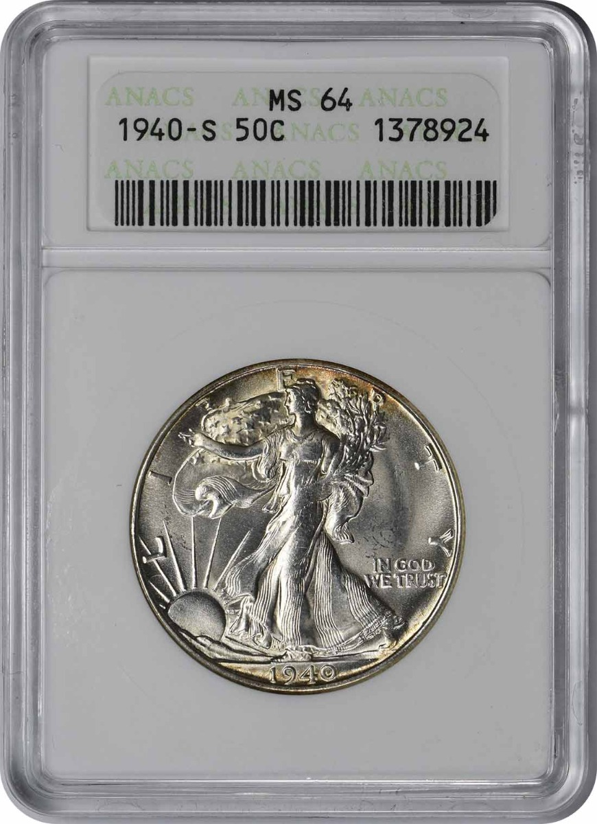 1940-S Walking Liberty Silver Half Dollar MS64 ANACS