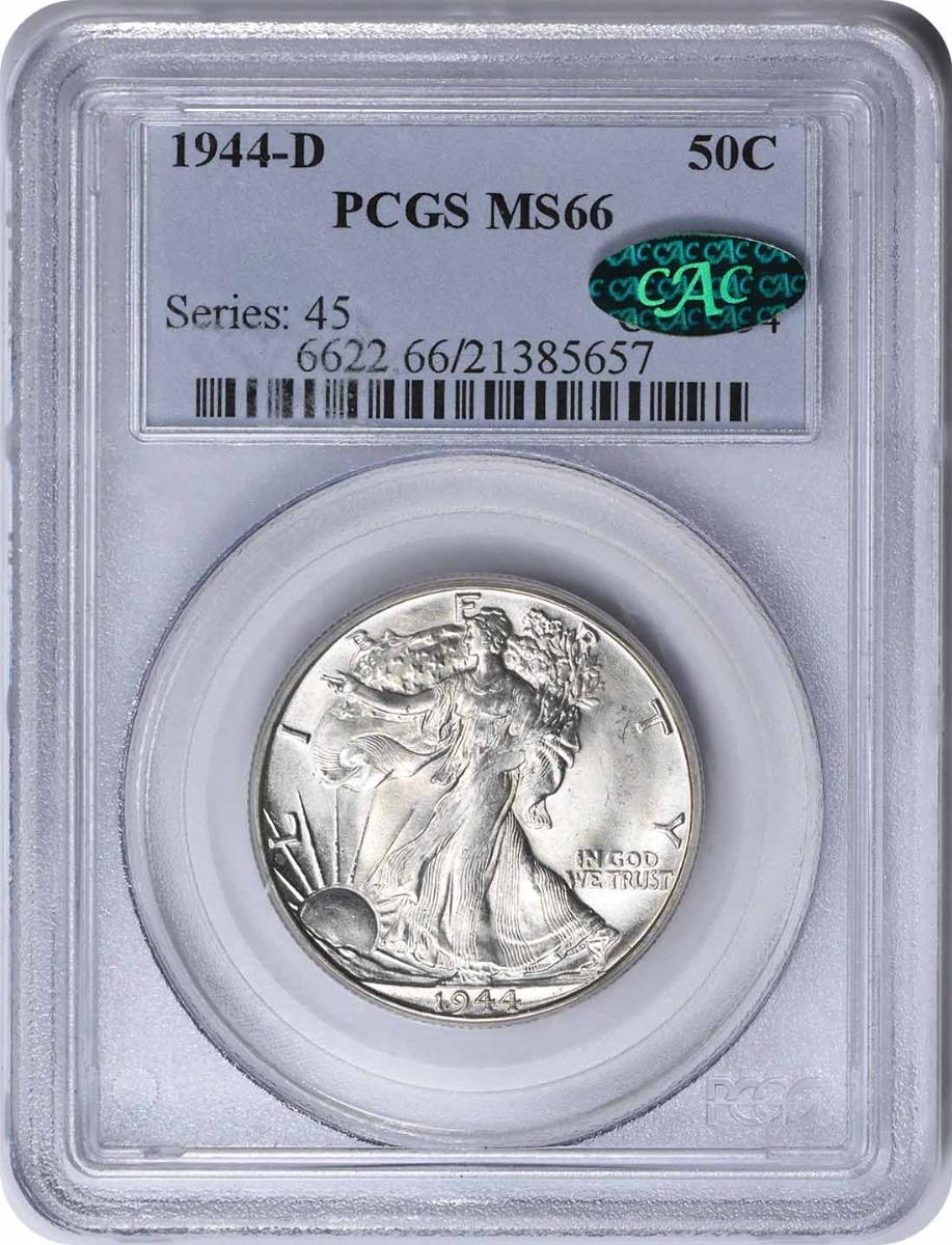 1944-D Walking Liberty Silver Half Dollar MS66 PCGS (CAC)