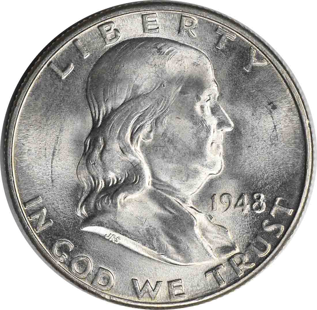1948-D Franklin Silver Half Dollar MS64 Uncertified