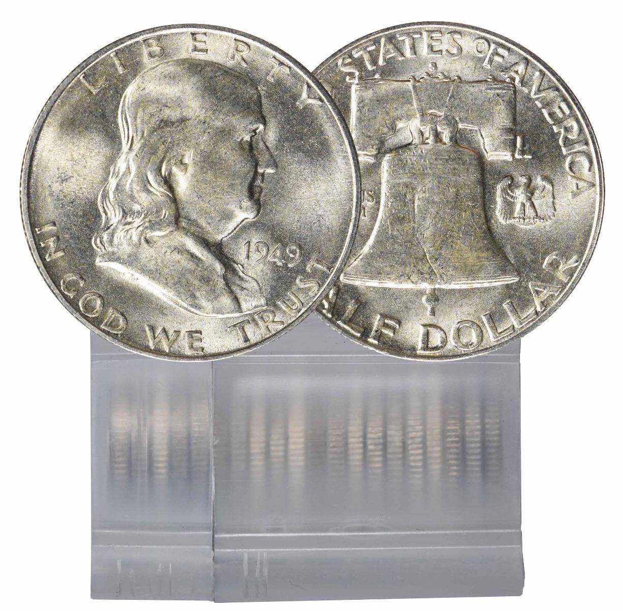 1949-S BU Franklin Half Dollar 20-Coin Roll