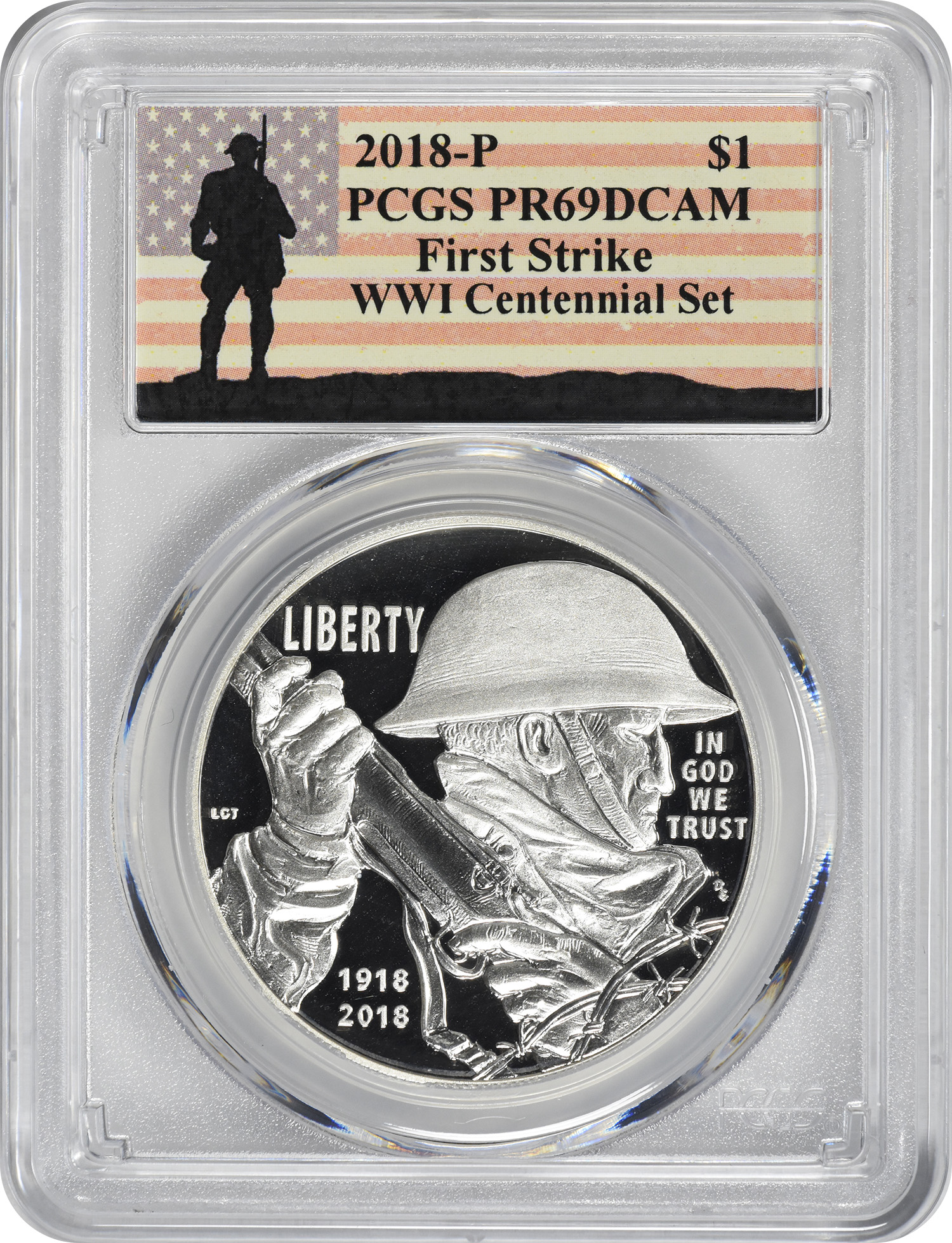 2018-P WWI Centennial Silver Commemorative Dollar (From Medal Set), PR69DCAM, First Strike, PCGS (WWI Label)