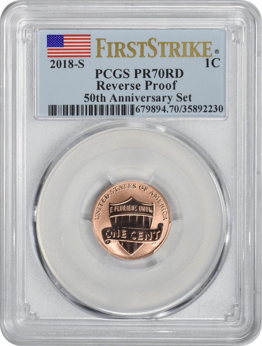 2018-S Lincoln Cent, Reverse Proof 50th Anniversary Set, PR70RD, First Strike, PCGS