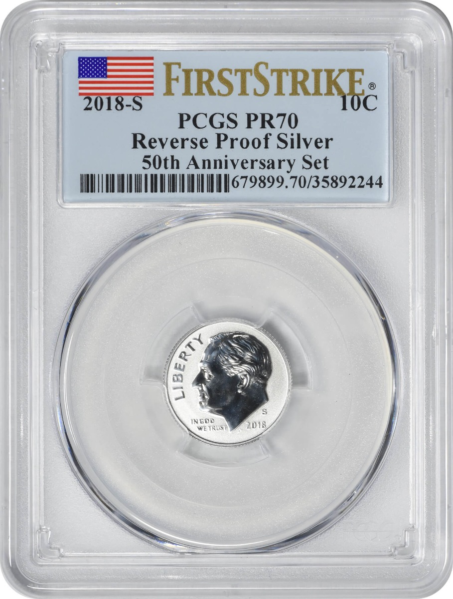 2018-S Roosevelt Silver Dime, Reverse Proof 50th Anniversary Set, PR70, First Strike, PCGS