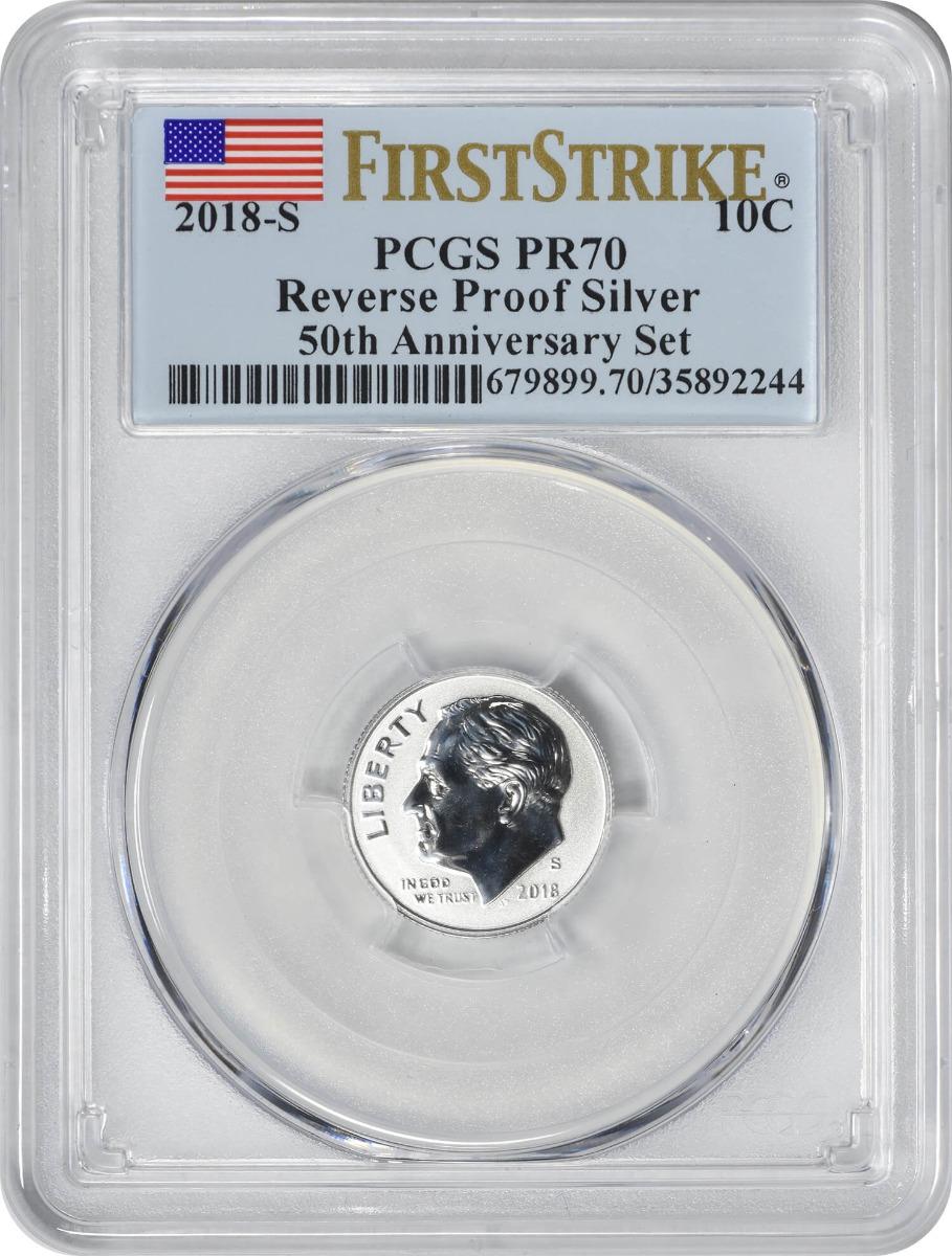 2018-S Roosevelt Silver Dime, Reverse Proof 50th Anniversary Set, PR70, First Strike, PCGS
