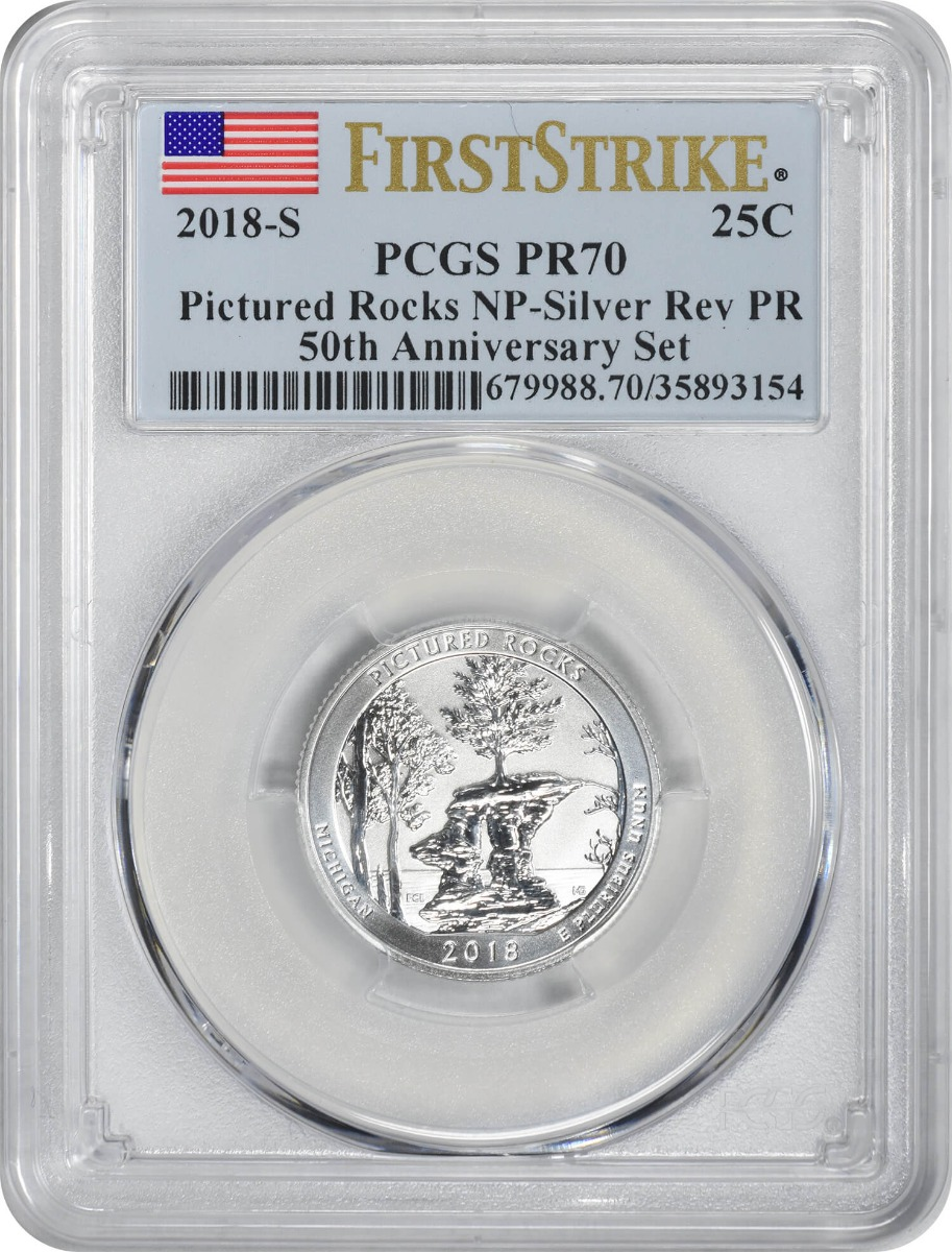 2018-S Pictured Rocks Silver Quarter, Reverse Proof 50th Anniversary Set, PR70, First Strike, PCGS