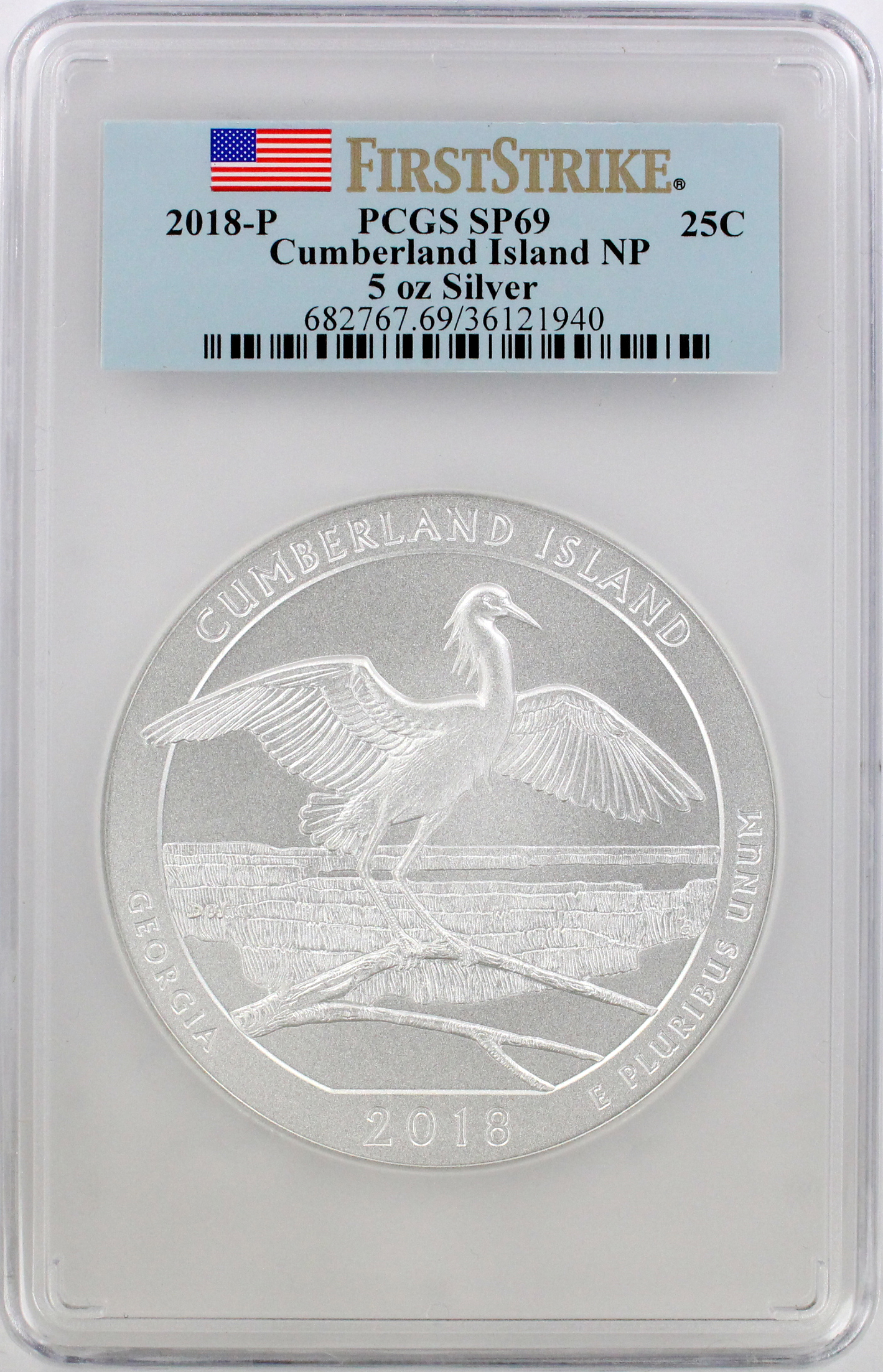 2018-P 5 oz Silver Cumberland Island National Park America the Beautiful Quarter, SP69, First Strike, PCGS