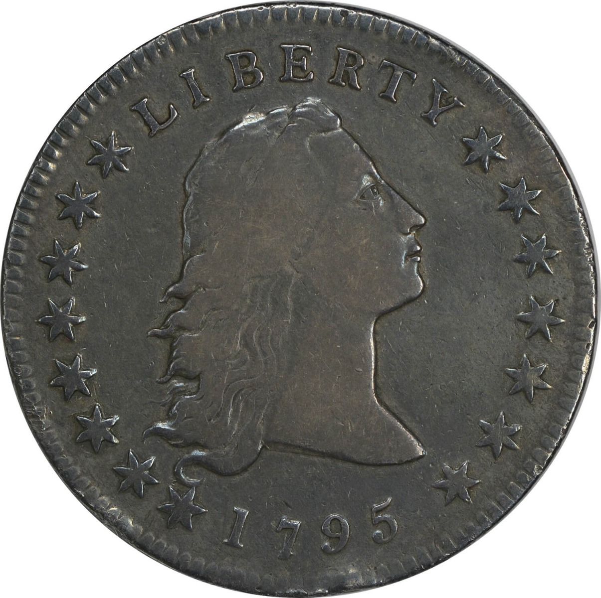 1795 Bust Silver Dollar 2 Leaves VF Uncertified