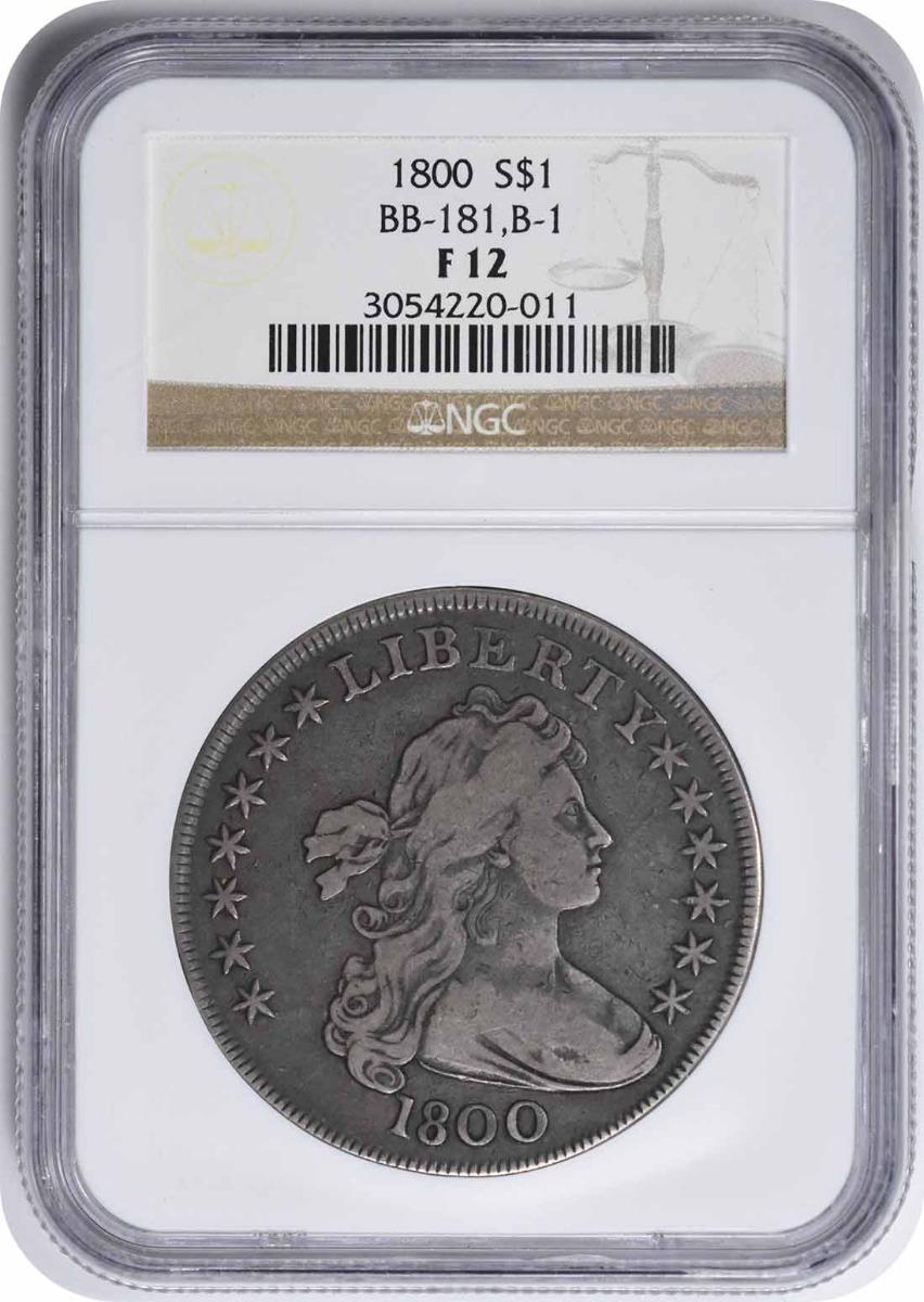 1800 Bust Silver Dollar 10 Arrows F12 NGC
