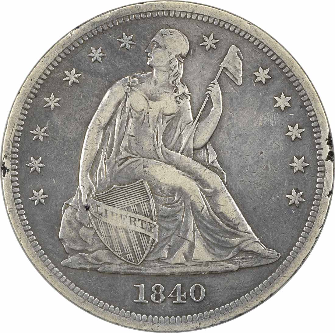 1840 Liberty Seated Silver Dollar VF Uncertified
