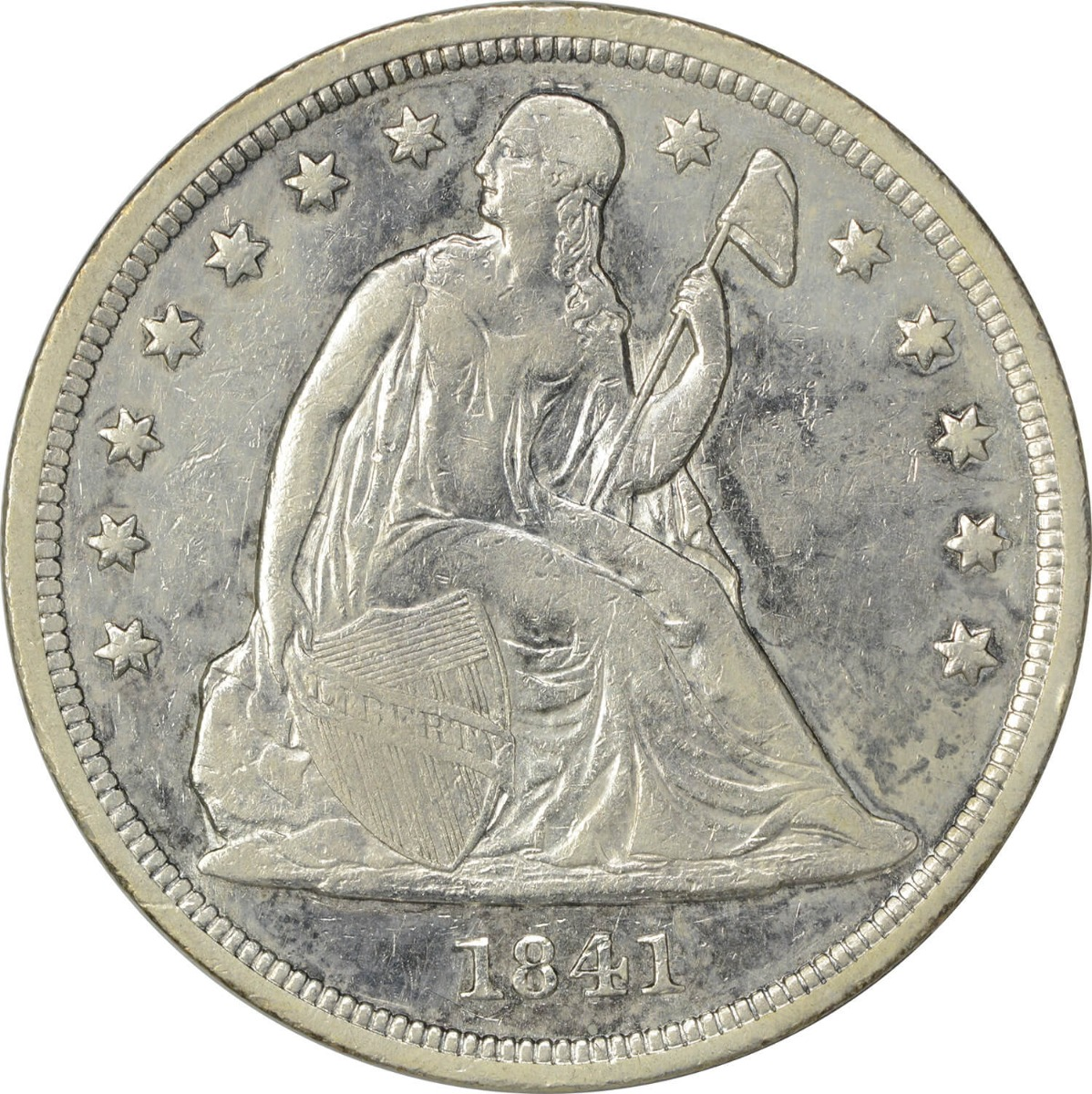 1841 Liberty Seated Silver Dollar EF Uncertified