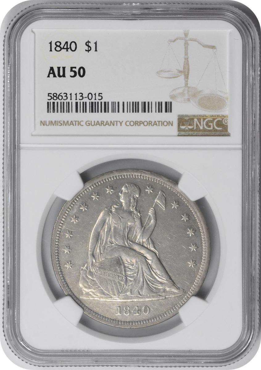 1840 Liberty Seated Silver Dollar AU50 NGC