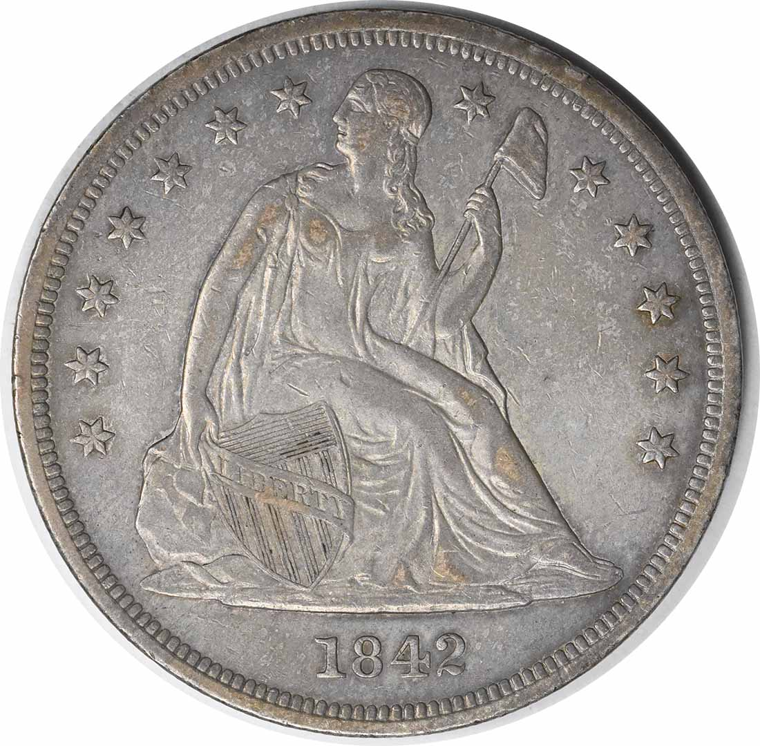 1842 Liberty Seated Dollar Choice EF Uncertified #906