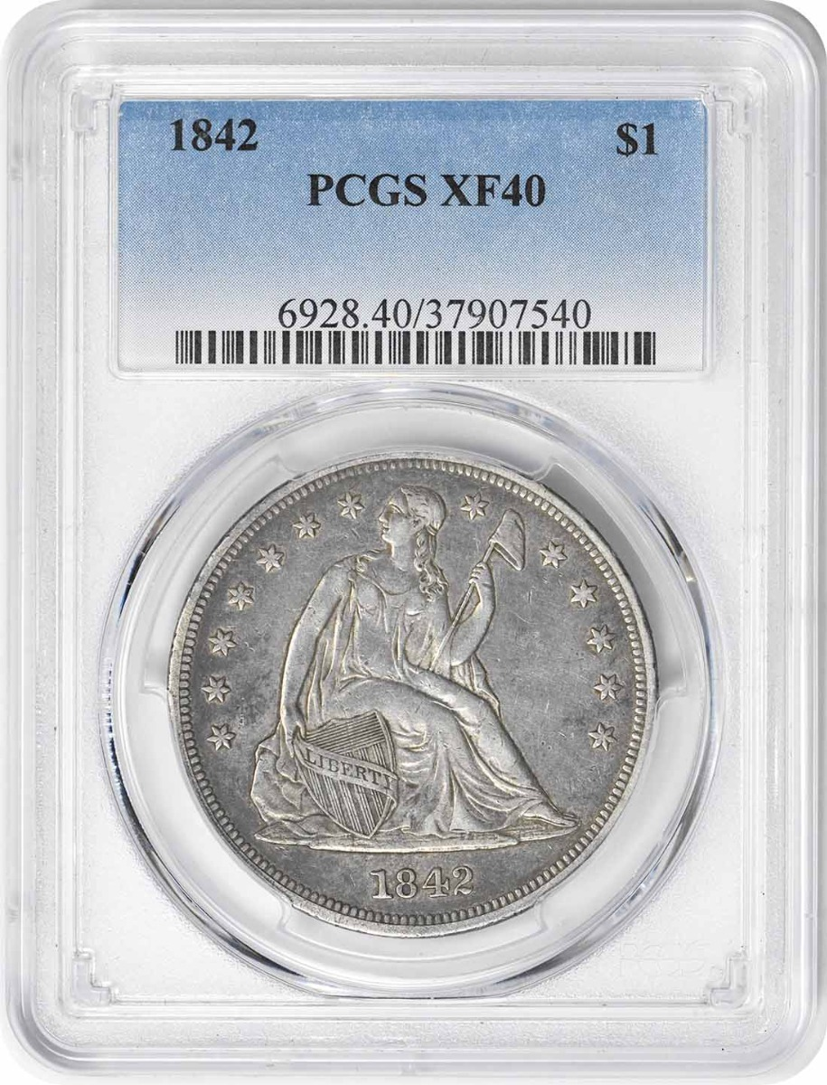 1842 Liberty Seated Silver Dollar EF40 PCGS