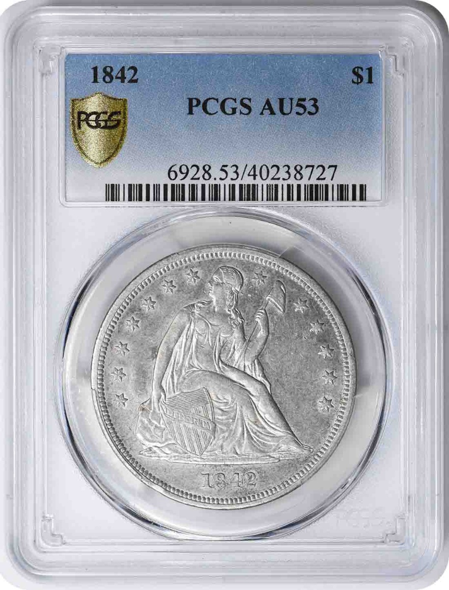 1842 Liberty Seated Silver Dollar AU53 PCGS
