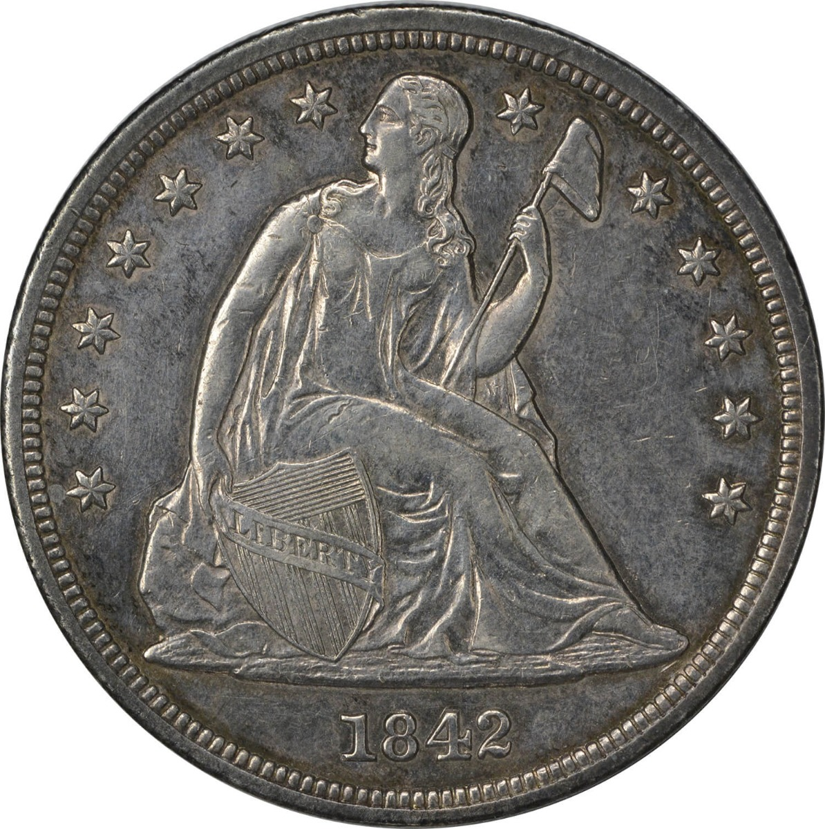 1842 Liberty Seated Silver Dollar Choice AU Uncertified